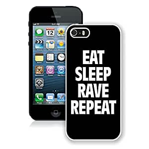 Fashionable CMS iPhone 5s Cases Design with Eat Sleep Rave Repeat in White