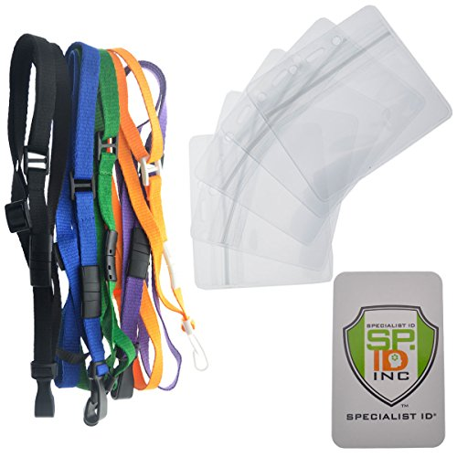5 Pack - Assorted Color Adjustable Length ID Lanyards with Breakaway Clasp & Clear Horizontal Ziplock Badge Holders by Specialist ID