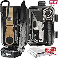 Survival Gear Kit – 14 in 1 Camping EDC Survival Gear Box, Outdoor Tactical Emergency Kit 2018