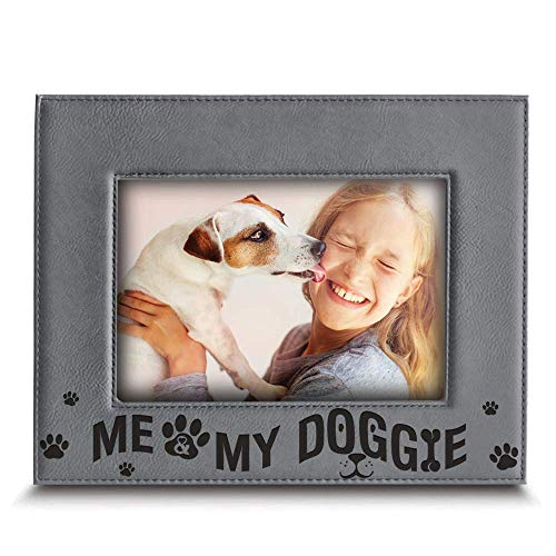 (Bella Busta - Me and My Doggie - Dog and Baby Picture Frame- Engraved Leather Picture Frame (5