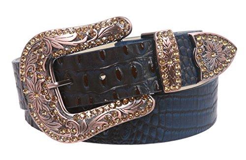 Snap On Western Crocodile Print Rhinestone Leather Belt Size: L/XL - 40 Color: Navy Blue ()