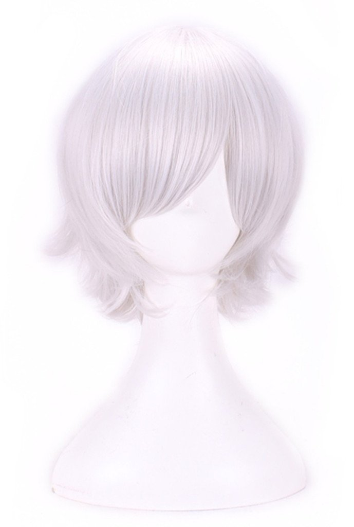 AneShe Men's Short Straight Layered Hair Anime Cosplay Costume Wig (Silver)