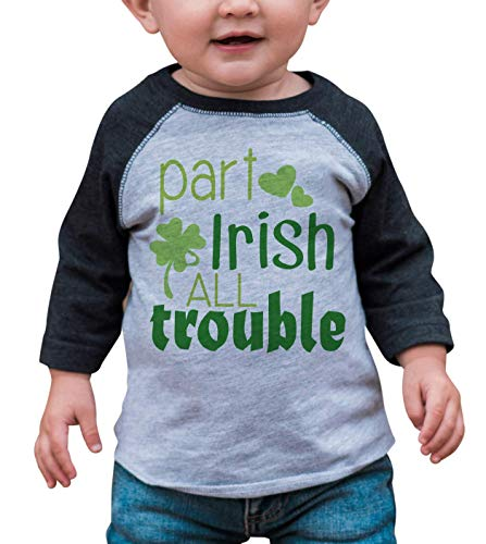 7 ate 9 Apparel Boy's St. Patrick's Day Vintage Baseball Tee 2T Grey and Green -