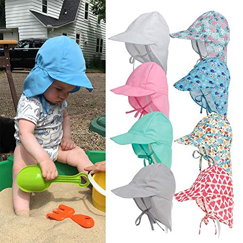 (Until-U Baby Childrens Outdoor Flap Hat Breathable UPF 50+ UV Ray Protection Baby Sun Hat with Neck Flap Frog Small (6-12 Months))