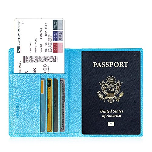 Fintie Passport Holder Travel Wallet - Premium Vegan Leather RFID Blocking Case Cover - Securely Holds Passport, Business Cards, Credit Cards, Boarding Passes, Sky Blue