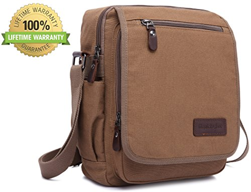 Price comparison product image Canvas Messenger Bag Shoulder Crossbody Side Bag Travel Satchel Bag Outdoor Sports Bag for Men and Women Coffee Magictodoor 9089coffee