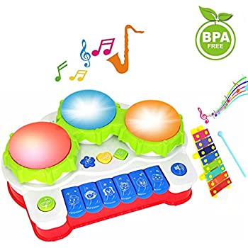 Baby Drums Piano Music Toys Keyboard Toddler Musical Instrument, Enhance Your Child's Hearing and Creativity, Best Birthday Christmas Festival Gift - with Mini Xylophone and Flashing Lights
