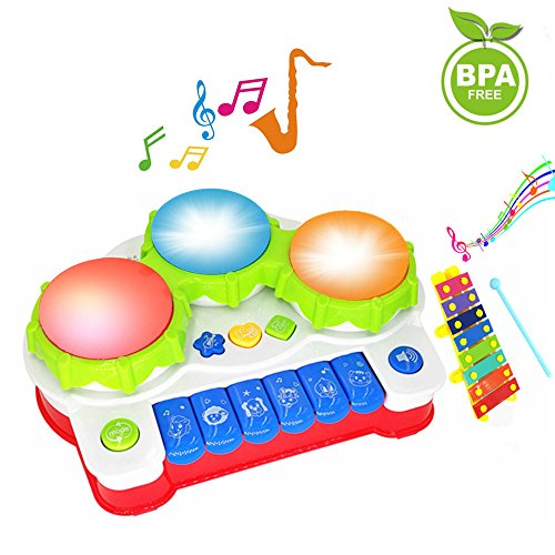 ic Toys Keyboard Toddler Musical Instrument, Enhance Your Child's Hearing and Creativity, Best Birthday Festival Gift - with Mini Xylophone and Flashing Lights (Drum Girl Instruments)