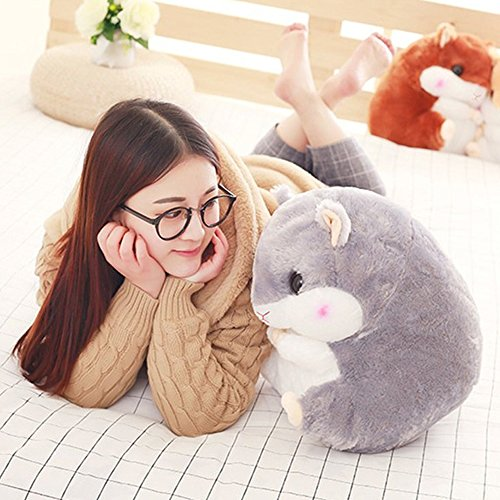 Crazy lin Baby Kids Animals Stuffed Doll Soft Plush 1 Hamster Throw Pillow With 1 Blanket (Hamster:15.811.8 inch, Grey) by Crazy lin (Image #6)