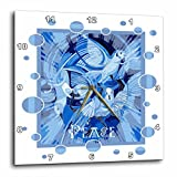 3dRose Taiche - Acrylic Painting - Peace Doves - Dove With Celtic Peace Text In Blue Tones - 13x13 Wall Clock (dpp_273656_2)