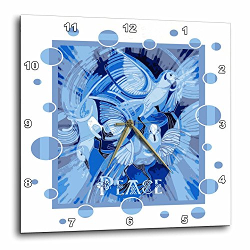 3dRose Taiche - Acrylic Painting - Peace Doves - Dove With Celtic Peace Text In Blue Tones - 13x13 Wall Clock (dpp_273656_2) by 3dRose