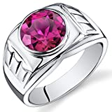 Mens 5.50 Carats Created Ruby Ring Sterling Silver Size 13