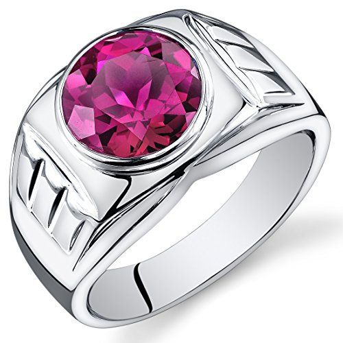 Ruby Created Steel Stainless Ring - Mens 5.50 Carats Created Ruby Ring Sterling Silver Size 13
