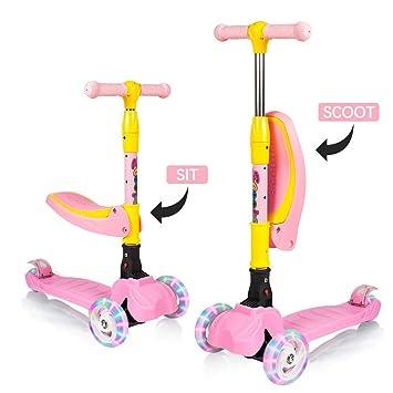 ZEHNHASE 3 en 1 Scooter de Patinetes para niños ,Ajustables Altura Scooter para niños con 3 Ruedas y Asiento Plegable, LED Enciende Scooter de Ruedas ...