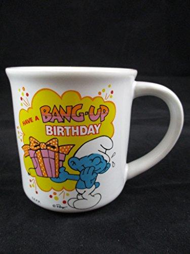 (Vintage 1982 Smurf Mug Have A Bang Up Birthday Wallace Berrie & Co Peyo Ceramic)