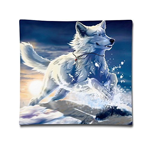 Kjaoi 1818 Inches Pillow Case Ice Fox Comfortable Soft Bed Pillow Case Household Pillow Case Office ()