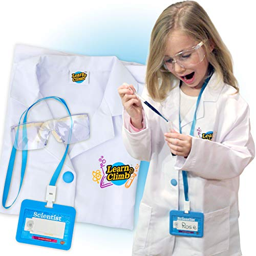 Lab Coat for Kids - Children's lab Coat with Adjustable Glasses & Personalized ID Card. Great Toy for Science Projects & Experiments -