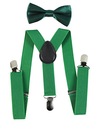 Keywin Baby Kids Boys Girls Toddler Suspender & Bow Tie Set Elastic Adjustable Strong Clip-on Suspender-Heavy Duty (Kelly Green)