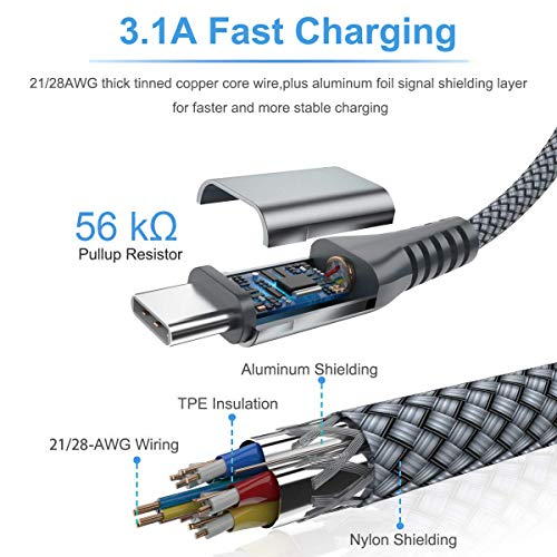 USB Type C Cable 3.1A Fast Charging,Sweguard 3-Pack (10ft+6.6ft+3.3ft) USB-A to USB-C Charger Cable,Nylon Braided Cord for Samsung Galaxy S10 S10E S9 S8 Plus Note 10 9 8,LG G8 G7 V40 V30,Moto Z(Grey)