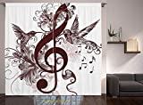 Living Room Bedroom Window Drapes/Rod Pocket Curtain Panel Satin Curtains/2 Curtain Panels/108 x 95 Inch/Music,Cute Floral Design with Treble Clef and Singing Flying Birds Sparrows Art,Chesnut Brown W