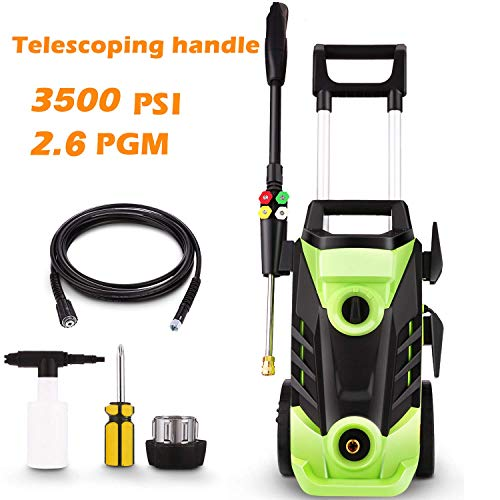 Homdox 3500 PSI Electric Pressure Washer, 1800W Power Washer, 2.6GPM High Pressure Washer, Professional Washer Cleaner Machine with 4 Interchangeable Nozzles,with Telescopic Handle,Green0