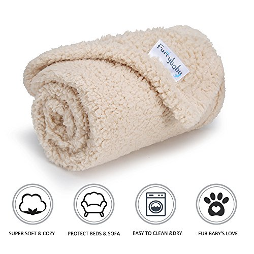 furrybaby Premium Fluffy Fleece Dog Blanket, Soft and Warm Pet Throw for Dogs & Cats (Small 24x30'', Beige)