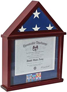 product image for Flag Display Case Shadow Box Frame for 3'X5' Flown Flag (Not for a Casket Draped Flag) Mahogany Finish