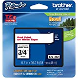 """Brother P-touch Genuine TZe-242~3/4"""" (0.7"""") Red on White Standard Laminated Tape–26.2 ft(8m)(TZE242)"""