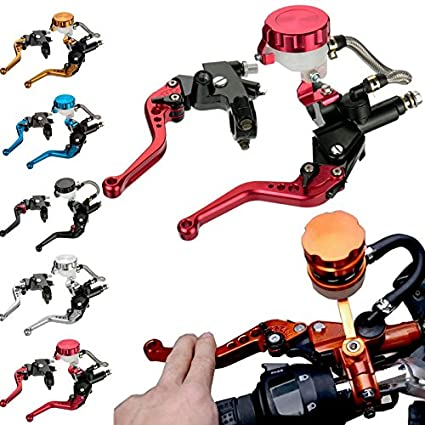 TUINCYN Universal Motorcycle 7/8 Inch Front Clutch Cylinder Fluid Reservoir Handle Control Levers Red