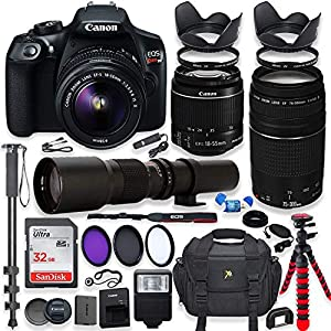 Canon EOS Rebel T6 DSLR Camera with 18-55mm & 75-300mm Lenses Kit + 500mm Preset Wildlife Lens – Deluxe Professional…