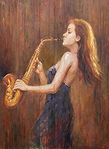 Paint by Numbers for Adults, DIY Painting Paint by Numbers Kits on Canvas,Charming Lady Playing the Saxophone 16x20 Inch,with Wooden Frame