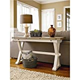 Bowery Hill Drop Leaf Console Table in Terrace Gray and Washed Linen For Sale