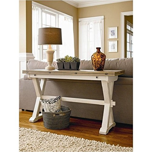 Table Top Dining Flip (Bowery Hill Drop Leaf Console Table in Terrace Gray and Washed Linen)
