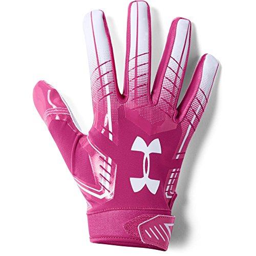 Under Armour Men's F6 Football Gloves, Tropic Pink (654)/White, Medium -