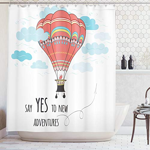 - Ambesonne Cartoon Shower Curtain, Inspirational Say Yes to New Adventures Cute Hand Drawn Hot Air Balloon, Fabric Bathroom Decor Set with Hooks, 75 Inches Long, Coral Sky Blue