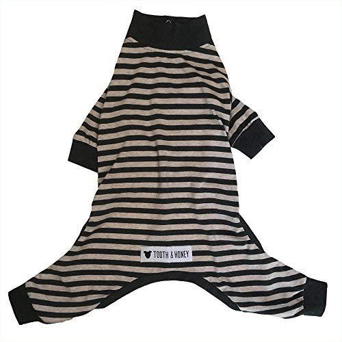 Tooth & Honey Large Dog Pajamas/one Piece/Lightweight Pajamas/Stripe pj/Pit Bull Pajamas/Big Dog Pajamas/Cotton Dog Pajamas (Extra Large)