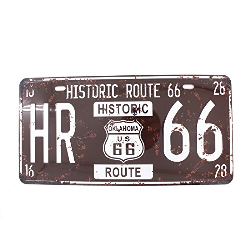 6x12 Inches Vintage Feel Metal Tin Sign Plaque for Home,bathroom and Bar Wall Decor Car Vehicle License Plate Souvenir (HISTORIC ROUTE - 66 Sign Tin Metal Route
