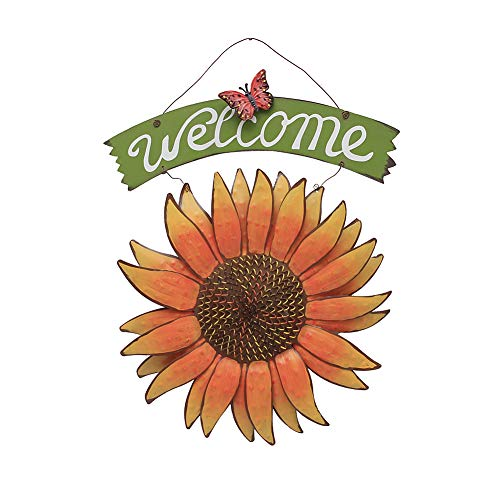 (Metal Hanging Butterfly Sunflower Welcome Door Sign, Front Door Hanging Welcome Sign Sunflower Door Decor for Indoor Outdoor (Color- Style 1))