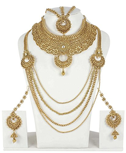 Ethnic Traditional Gold Tone Polki Indian Bridal Necklace Set Wedding Wear Jewelry by Muchmore