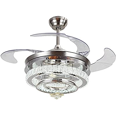 Huston Fan 42 Inch Decorative Crystal Ceiling Lights With 4 Acrylic Retractable Blades Indoor Living Room Bedroom LED Chandelier Fan With Remote