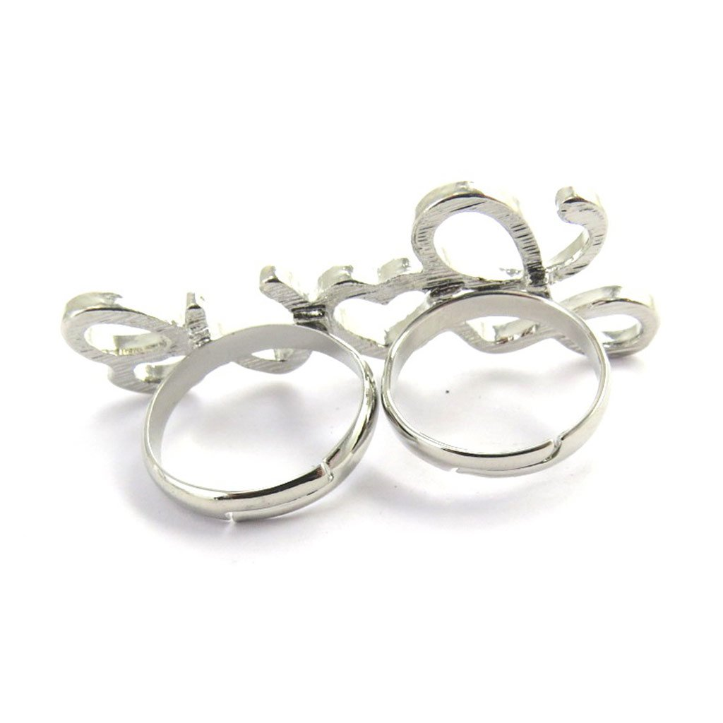 Double ring Love silver.