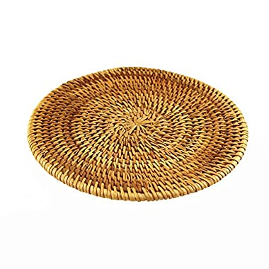 BRILA Hand-woven Rattan Coaster, Teapot coasters, exotic table decoration and creative gift (6.3 )