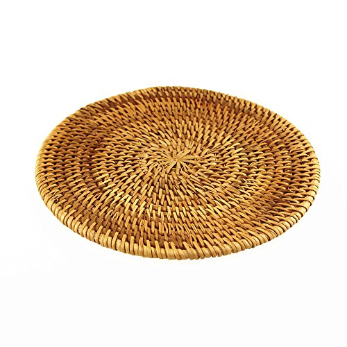 BRILA Hand-woven Rattan Coaster, Teapot coasters, exotic table decoration and creative gift (Large Woven Bamboo)