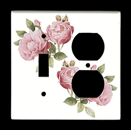 Combo Single Toggle Single Duplex Outlet Light Switch Plate Cover - Flowers Plants - Light Pink Roses