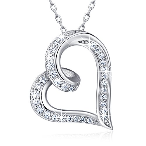 "925 Sterling Silver Infinity Heart Necklace – Billie Bijoux ""Endlessness Love"" Platinum Plated Diamond Pendant"