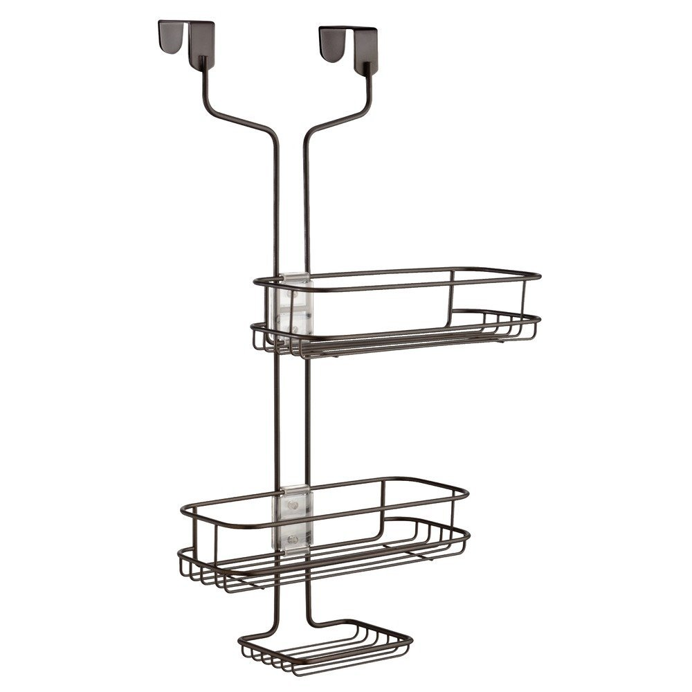 InterDesign Linea Adjustable Bathroom Over Door Shower Caddy for Shampoo, Conditioner, Soap - Matte Black Inc. 69487