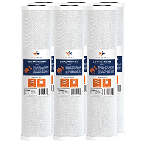 Aquaboon Big Blue Coconut Shell Water Filter Cartridge | Activated Carbon Block CTO | Universal Whole House 5 Micron 20 inch Cartridge | Compatible with EPM-20BB, CB-BB-20, 155783-43, FC25B, 6 Pack