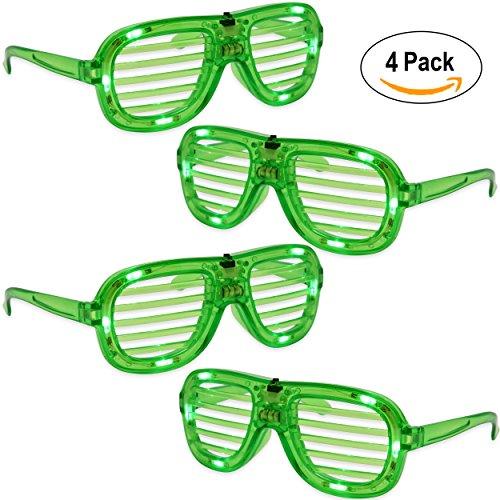 4 Pack St Patrick's Day Led Light Up Eye Glasses Green Plastic Flashing Irish Party Favor Costume Supplies by Gift - Glasses Dark Eye