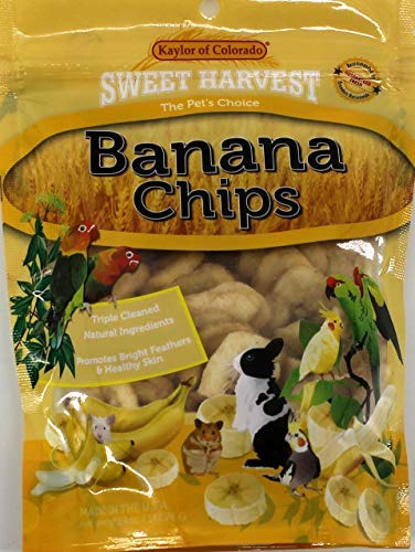 - Sweet Harvest Banana Chips Treat, 4.0 Oz Bag - Real Fruit for Birds and Small Animals - Rabbits, Hamsters, Guinea Pigs, Mice, Gerbils, Rats, Cockatiels, Parrots, Macaws, Conures