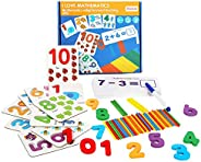 CY-ZAM Math Educational Toy, Wooden Number Matching Puzzle Cards and Counting Sticks, Basic Addition and Subtr